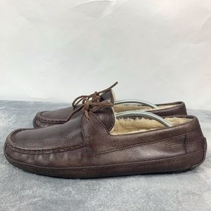 Ugg Byron Brown Leather Slip On Driving Shoes 13